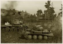 "T-34 и PzKpfw 38 nA, карта ""Топь""."